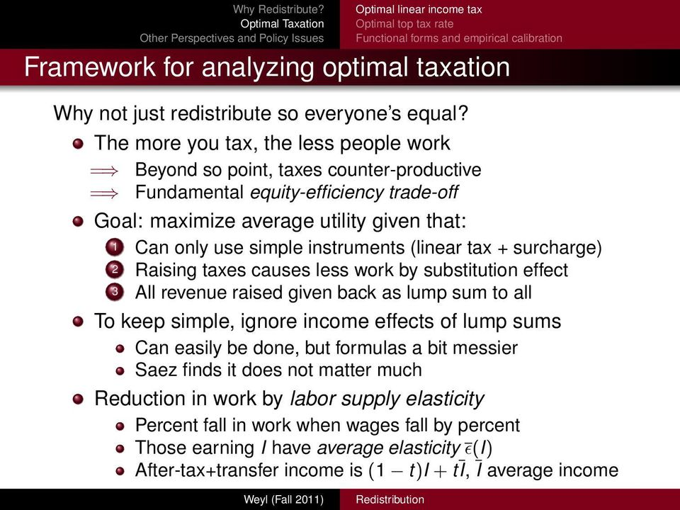 instruments (linear tax + surcharge) 2 Raising taxes causes less work by substitution effect 3 All revenue raised given back as lump sum to all To keep simple, ignore income effects of lump sums Can