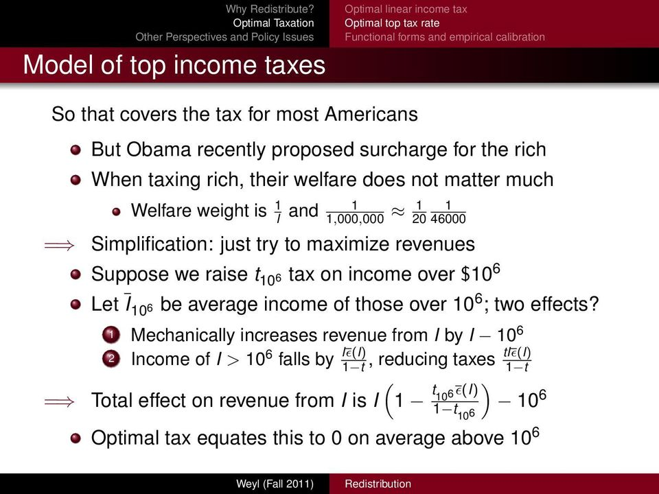 revenues Suppose we raise t 10 6 tax on income over $10 6 Let I 10 6 be average income of those over 10 6 ; two effects?