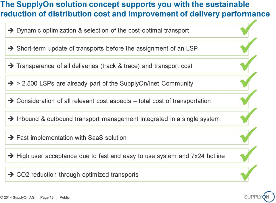500 LSPs are already part of the SupplyOn/inet Community Consideration of all relevant cost aspects total cost of transportation Inbound & outbound transport management integrated