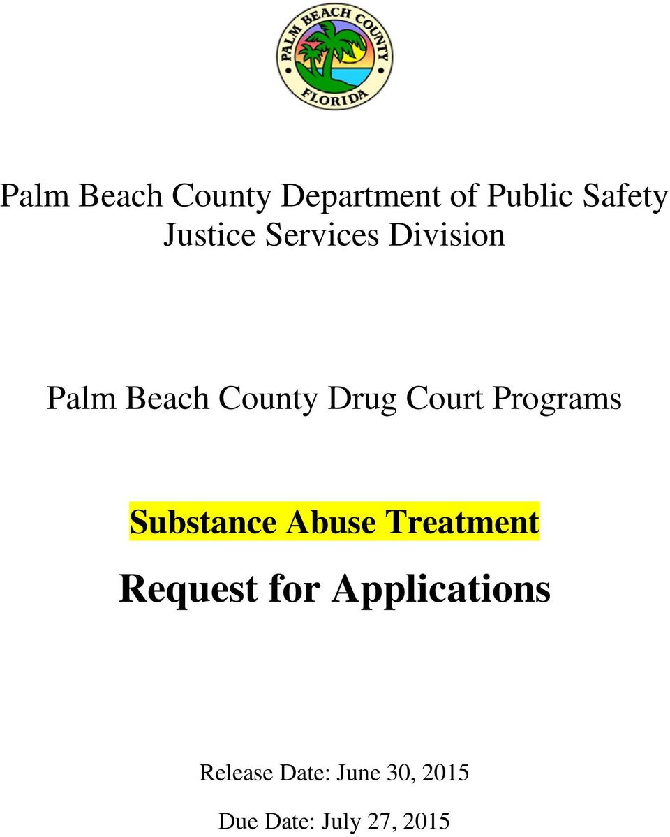 Court Programs Substance Abuse Treatment Request for