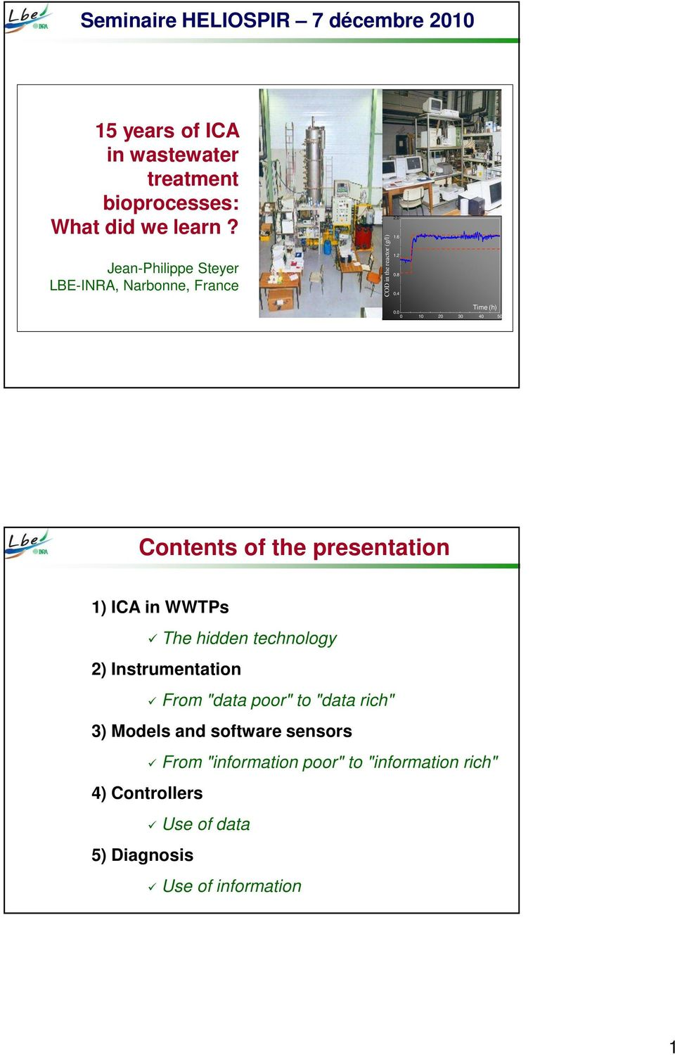 "1 2 3 4 5 Contents of the presentation 1) ICA in WWTPs The hidden technology 2) Instrumentation From ""data poor"" to"