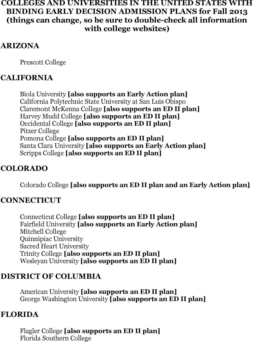 Harvey Mudd College [also supports an ED II plan] Occidental College [also supports an ED II plan] Pitzer College Pomona College [also supports an ED II plan] Santa Clara University [also supports an