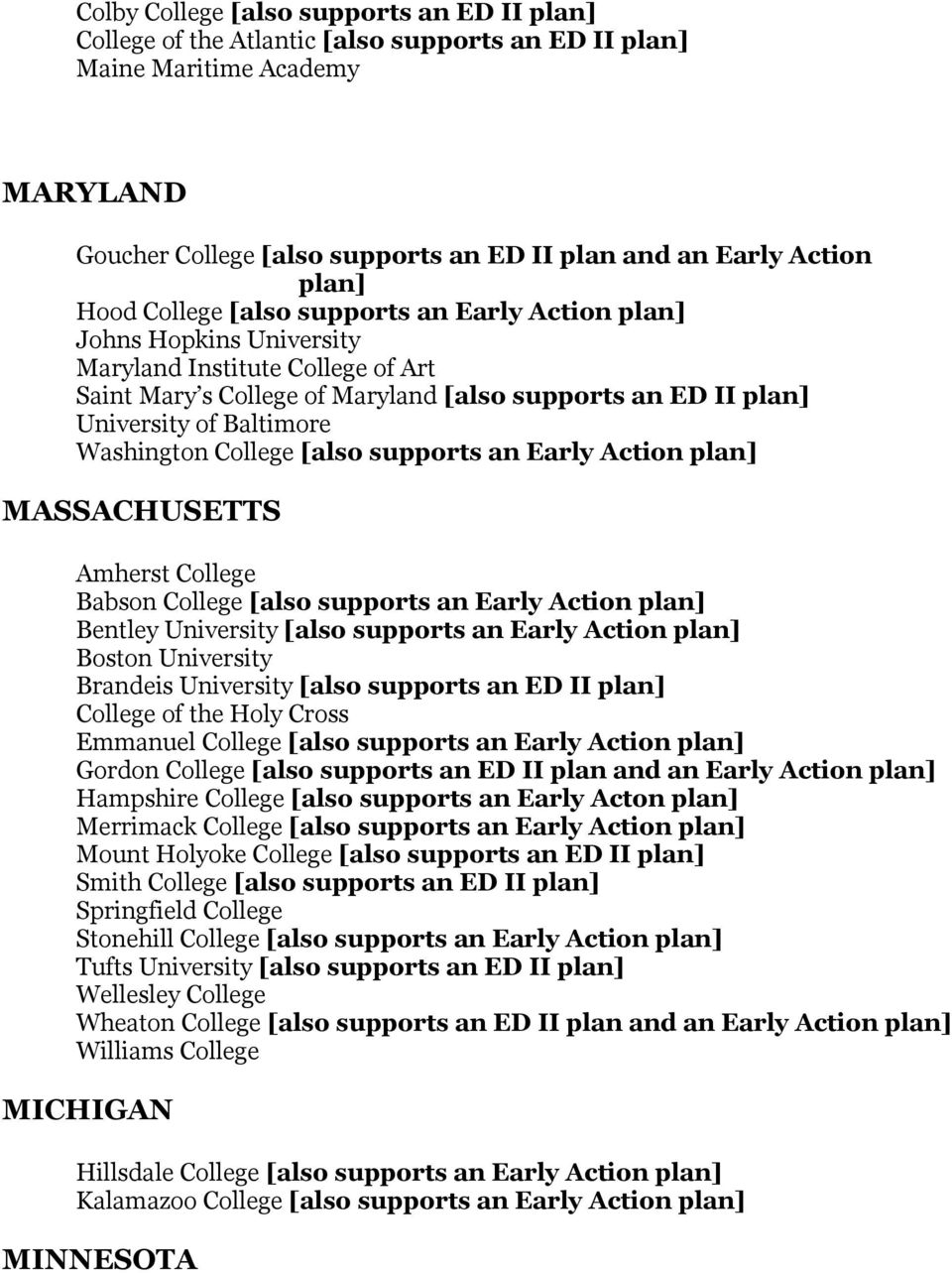 Baltimore Washington College [also supports an Early Action plan] MASSACHUSETTS Amherst College Babson College [also supports an Early Action plan] Bentley University [also supports an Early Action
