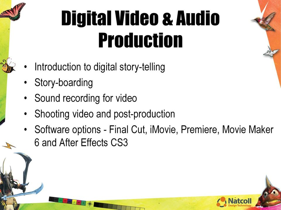 Shooting video and post-production Software options -