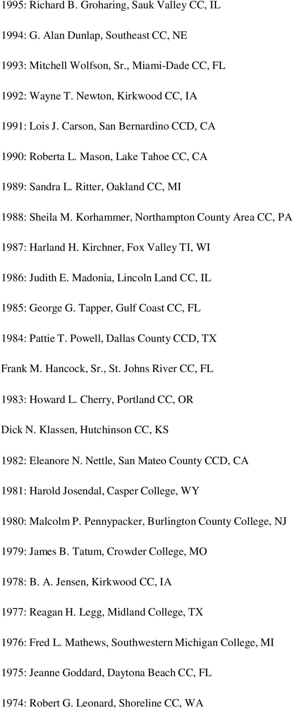 Kirchner, Fox Valley TI, WI 1986: Judith E. Madonia, Lincoln Land CC, IL 1985: George G. Tapper, Gulf Coast CC, FL 1984: Pattie T. Powell, Dallas County CCD, TX Frank M. Hancock, Sr., St.