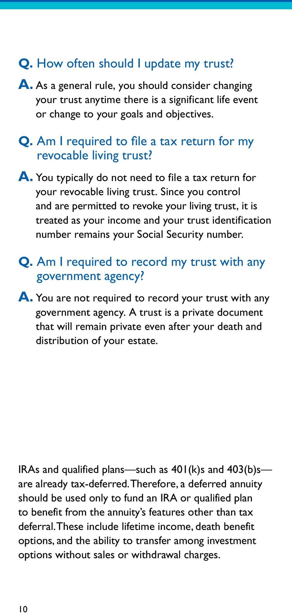 Since you control and are permitted to revoke your living trust, it is treated as your income and your trust identification number remains your Social Security number. Q.