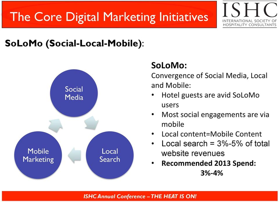 guests are avid SoLoMo users Most social engagements are via mobile Local