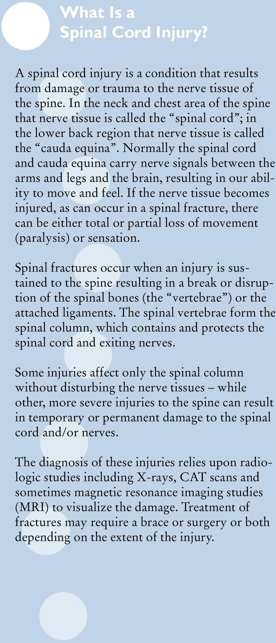 Normally the spinal cord and cauda equina carry nerve signals between the arms and legs and the brain, resulting in our ability to move and feel.