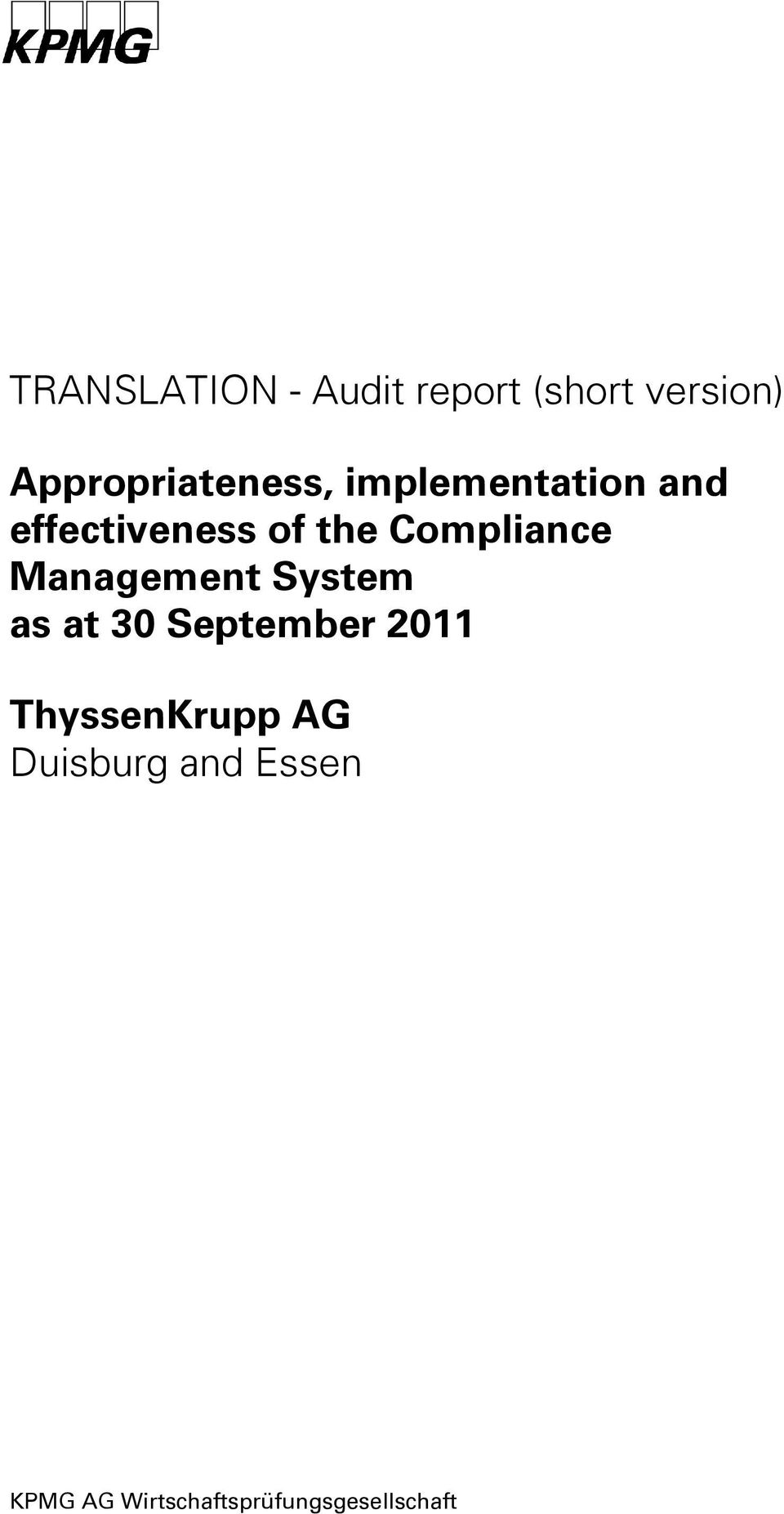 Compliance Management System as at 30 September 2011