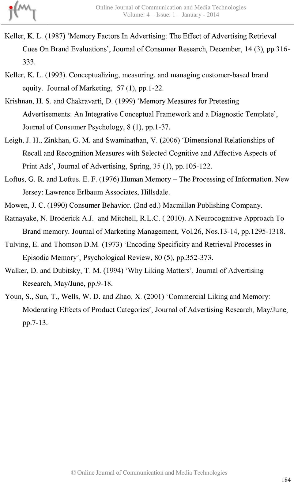 (1999) Memory Measures for Pretesting Advertisements: An Integrative Conceptual Framework and a Diagnostic Template, Journal of Consumer Psychology, 8 (1), pp.1-37. Leigh, J. H., Zinkhan, G. M. and Swaminathan, V.