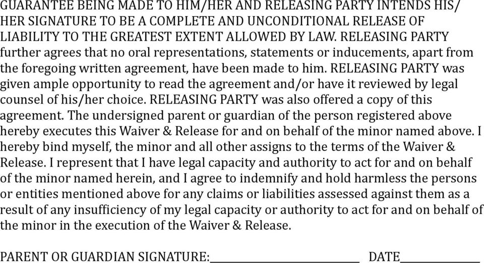RELEASING PARTY was given ample opportunity to read the agreement and/or have it reviewed by legal counsel of his/her choice. RELEASING PARTY was also offered a copy of this agreement.