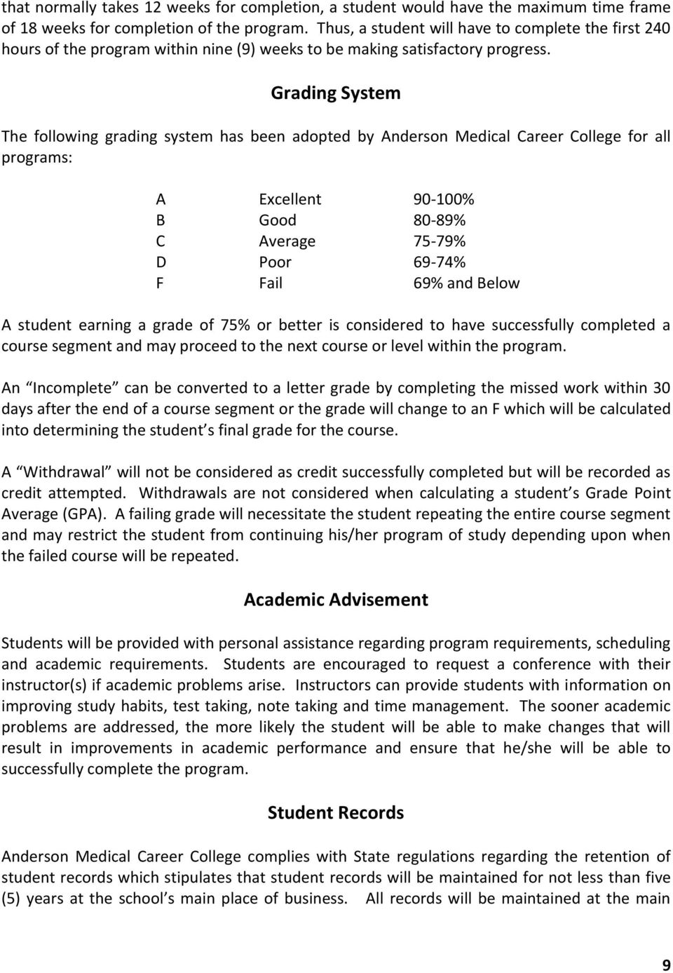 Grading System The following grading system has been adopted by Anderson Medical Career College for all programs: A Excellent 90-100% B Good 80-89% C Average 75-79% D Poor 69-74% F Fail 69% and Below