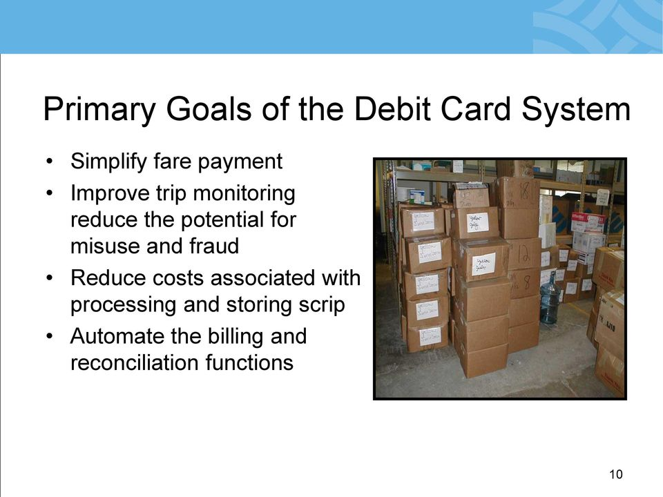 misuse and fraud Reduce costs associated with processing
