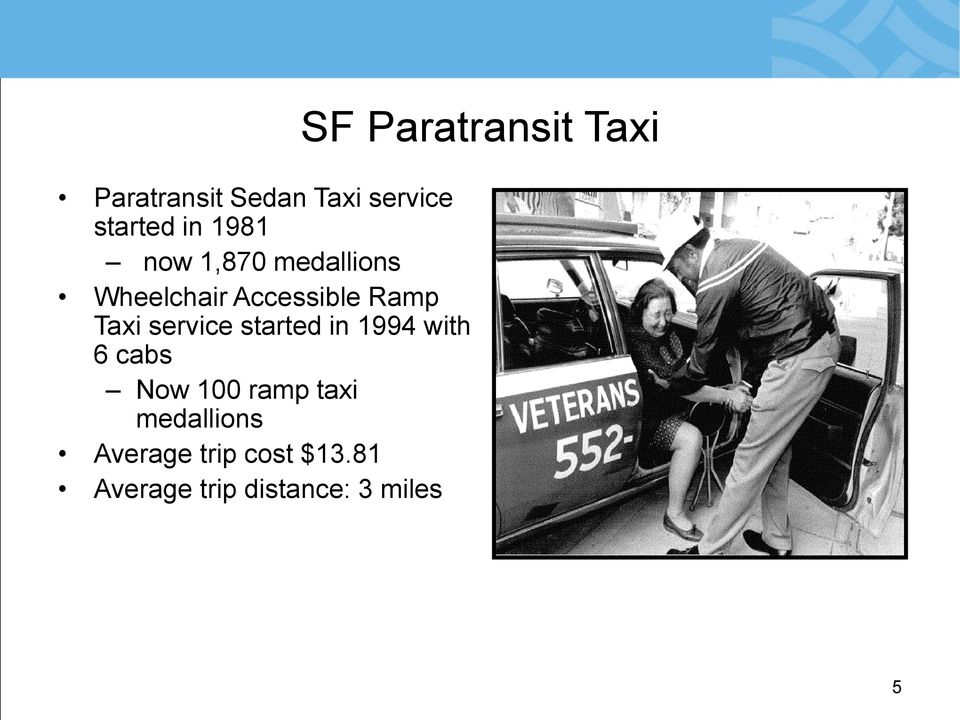 in 1994 with 6 cabs Now 100 ramp taxi medallions Average
