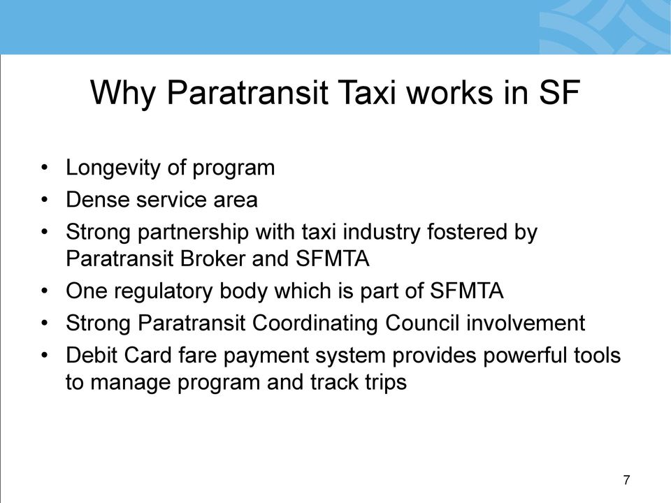 regulatory body which is part of SFMTA Strong Paratransit Coordinating Council