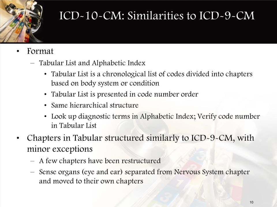 terms in Alphabetic Index; Verify code number in Tabular List Chapters in Tabular structured similarly to ICD-9-CM, with minor