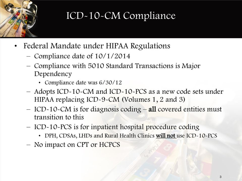 replacing ICD-9-CM (Volumes 1, 2 and 3) ICD-10-CM is for diagnosis coding all covered entities must transition to this