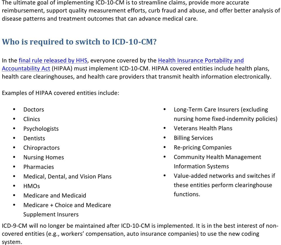 In the final rule released by HHS, everyone covered by the Health Insurance Portability and Accountability Act (HIPAA) must implement ICD- 10- CM.
