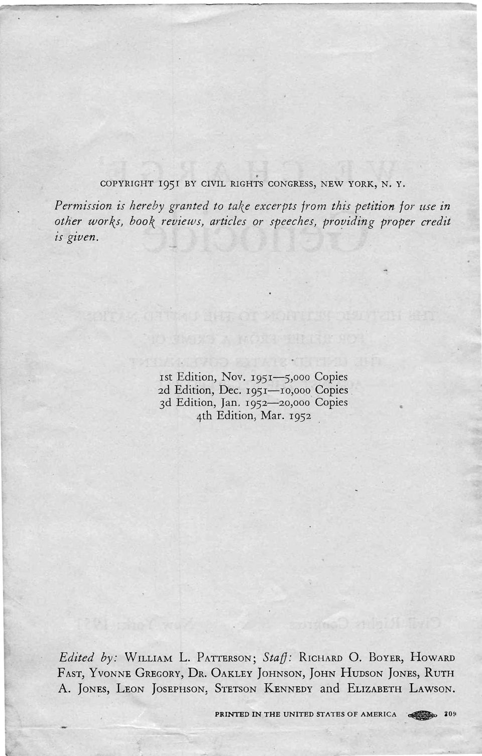 Copies 3d Edition, Jan. 1952-2o,ooo Copies 4th Edition, Mar. 1952 Edited by: WILLIAM L. PATTERSoN; Staf}: RrcHARD 0.