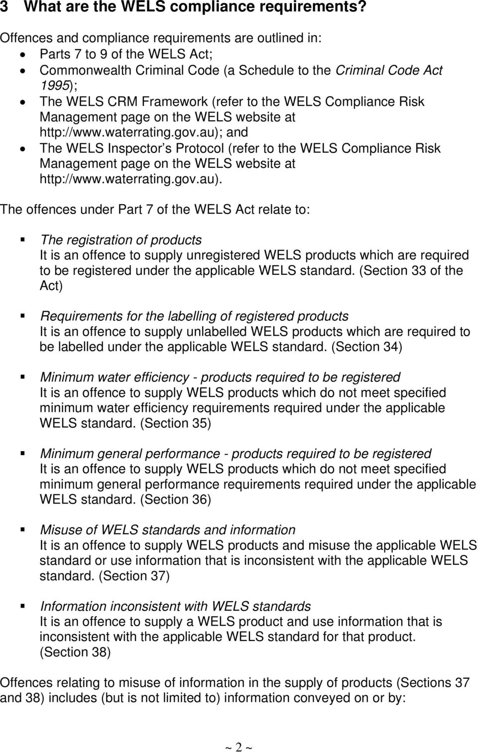 Compliance Risk Management page on the WELS website at http://www.waterrating.gov.