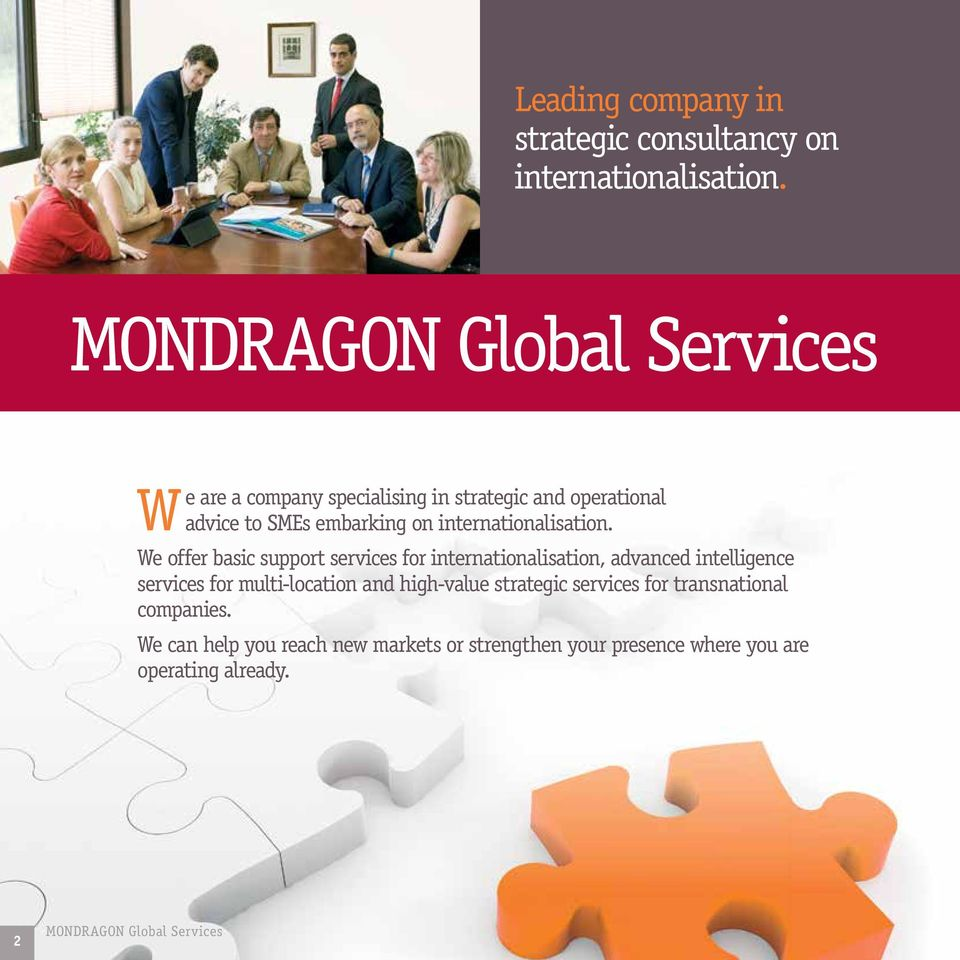 We offer basic support services for internationalisation, advanced intelligence services for multi-location