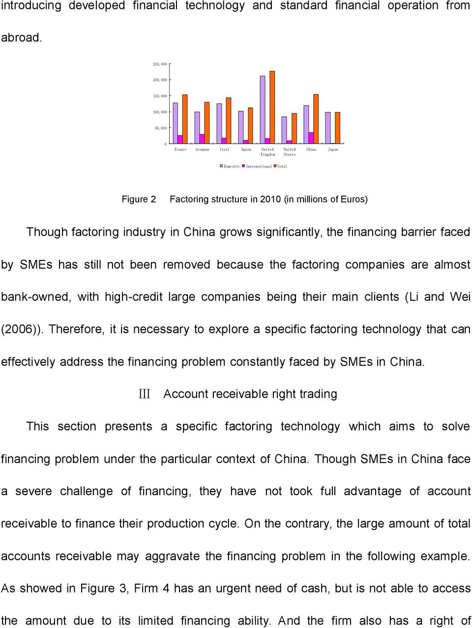 Though factoring industry in China grows significantly, the financing barrier faced by SMEs has still not been removed because the factoring companies are almost bank-owned, with high-credit large