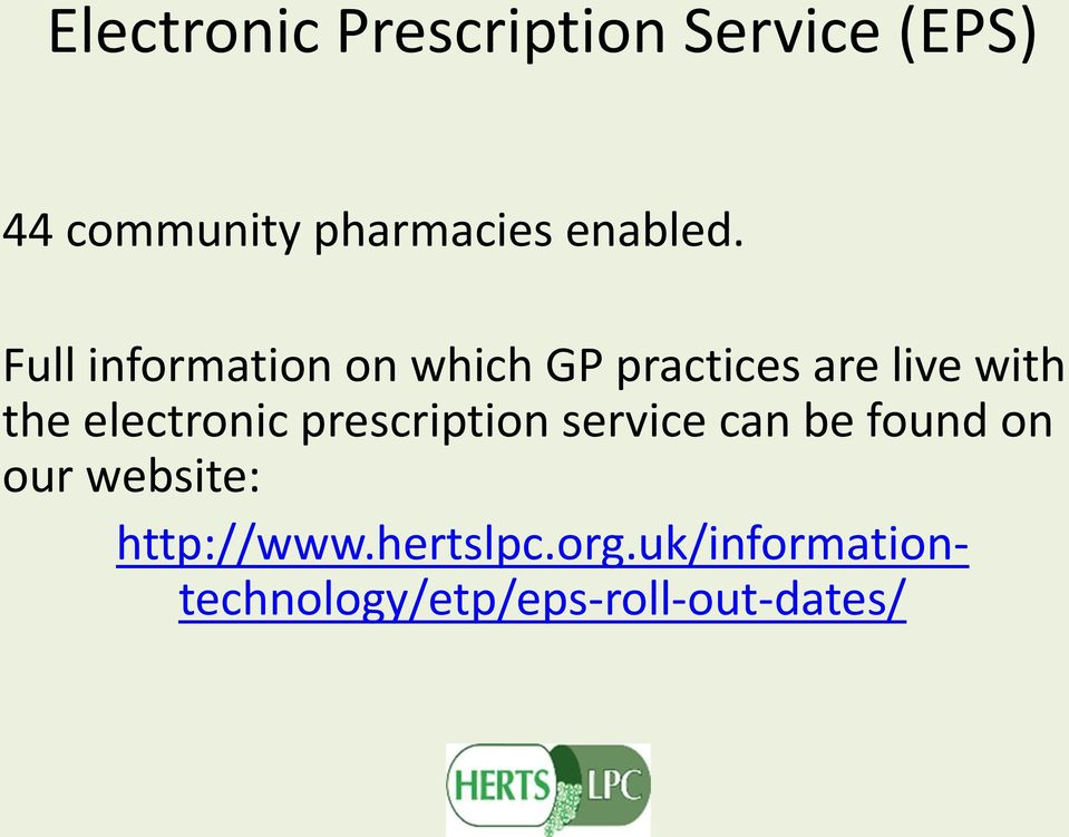 Full information on which GP practices are live with the