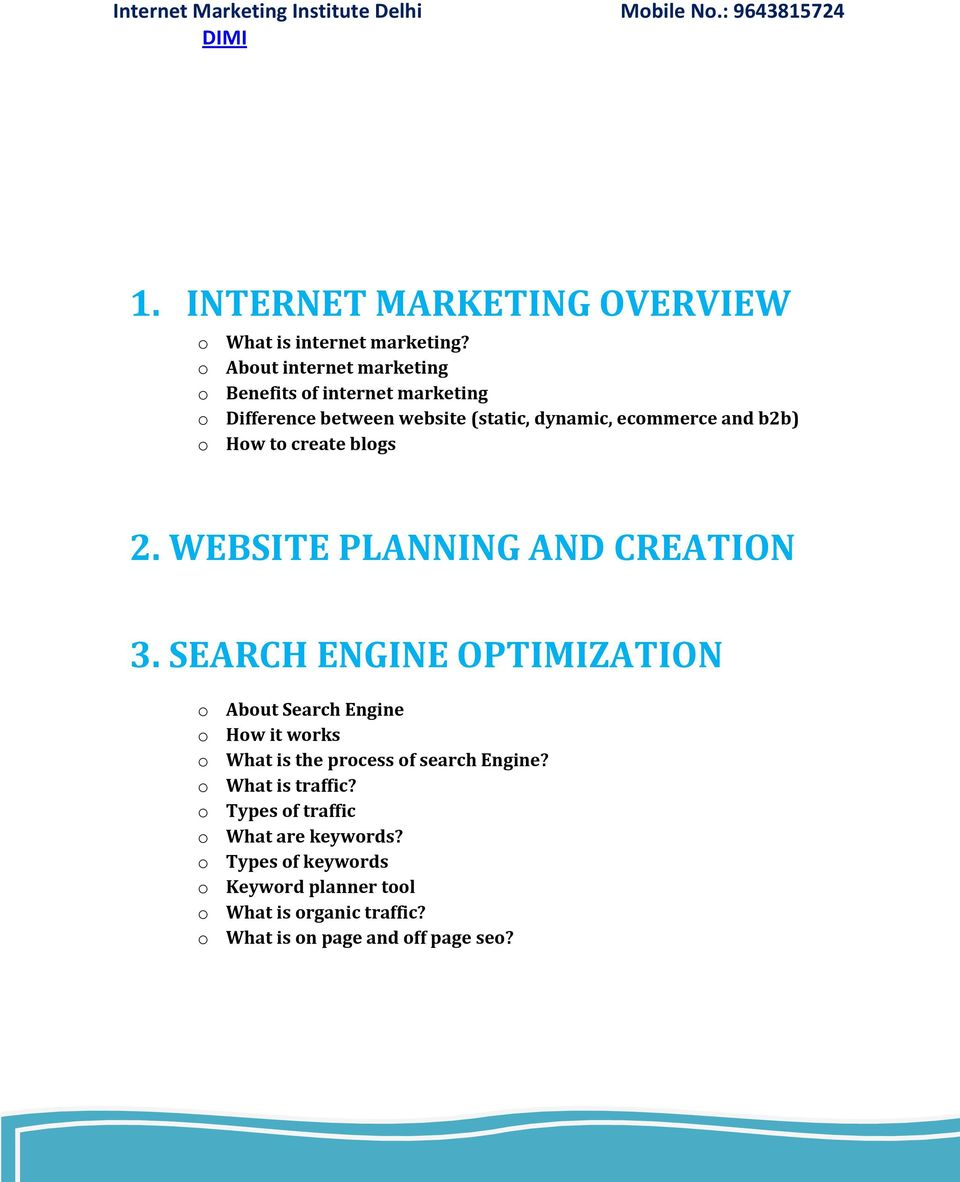 How to create blogs 2. WEBSITE PLANNING AND CREATION 3.