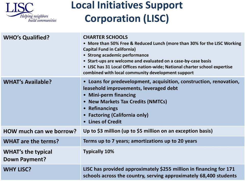 are welcome and evaluated on a case-by-case basis LISC has 31 Local Offices nation-wide; National charter school expertise combined with local community development support Loans for predevelopment,