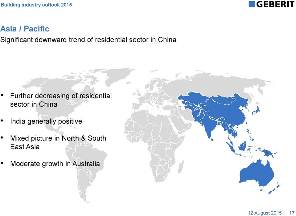 decreasing of residential sector in China India generally