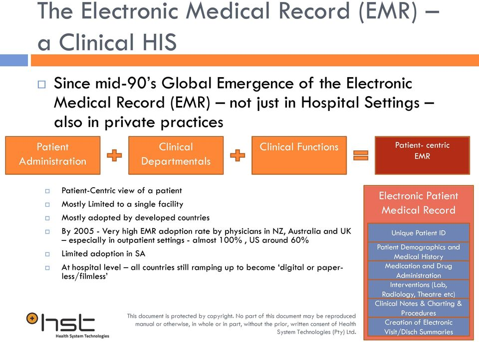 Very high EMR adoption rate by physicians in NZ, Australia and UK especially in outpatient settings - almost 100%, US around 60% Limited adoption in SA At hospital level all countries still ramping