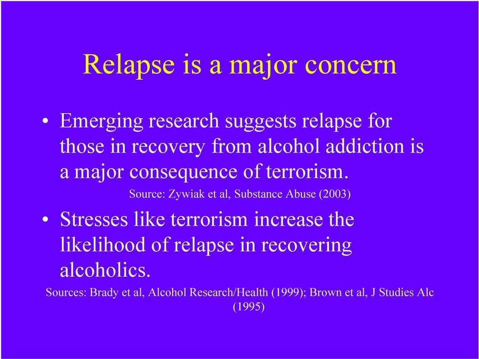 Source: Zywiak et al, Substance Abuse (2003) Stresses like terrorism increase the