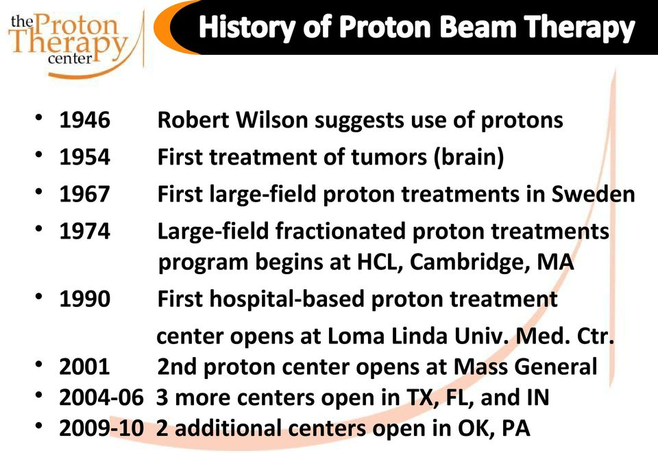 1990 First hospital-based proton treatment center opens at Loma Linda Univ. Med. Ctr.