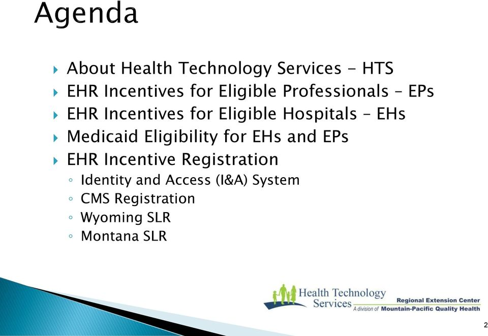 Medicaid Eligibility for EHs and EPs EHR Incentive Registration