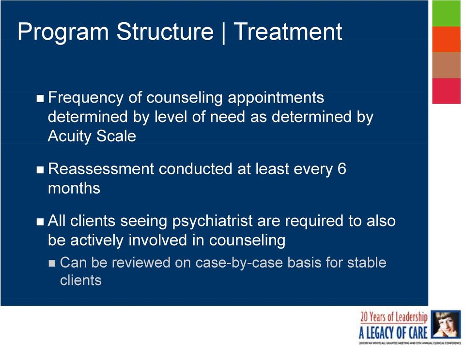 conducted at least every 6 months All clients seeing psychiatrist are required