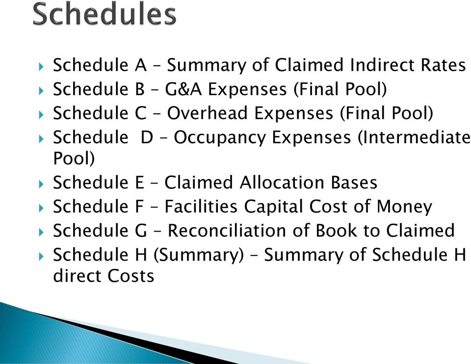 Pool) Schedule E Claimed Allocation Bases Schedule F Facilities Capital Cost of Money
