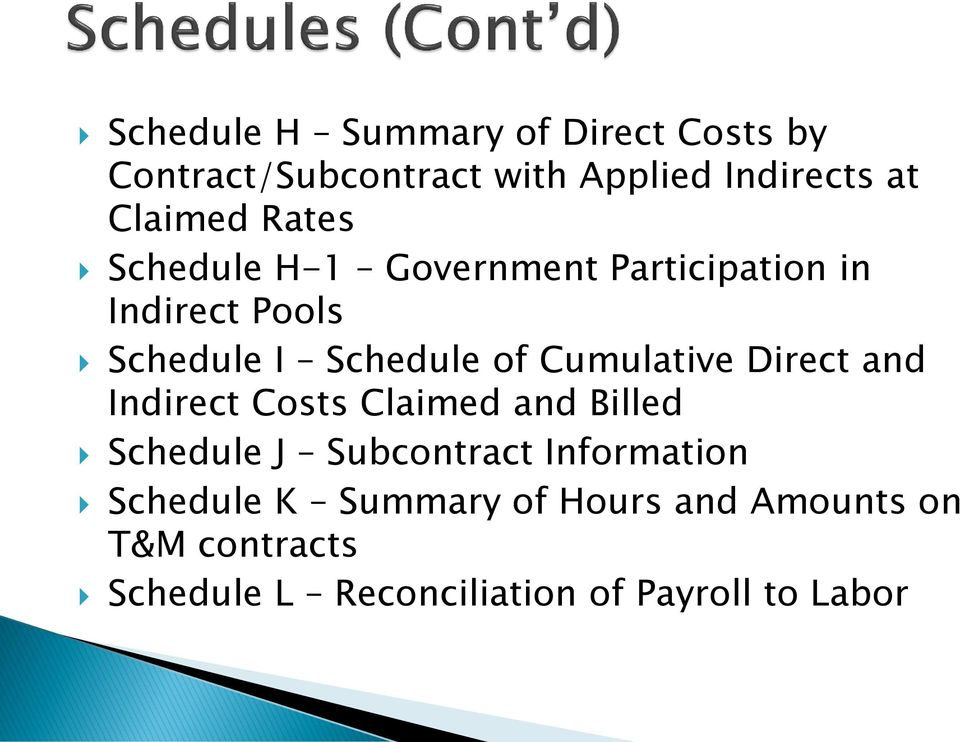 Cumulative Direct and Indirect Costs Claimed and Billed Schedule J Subcontract Information