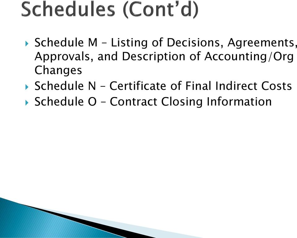 Changes Schedule N Certificate of Final
