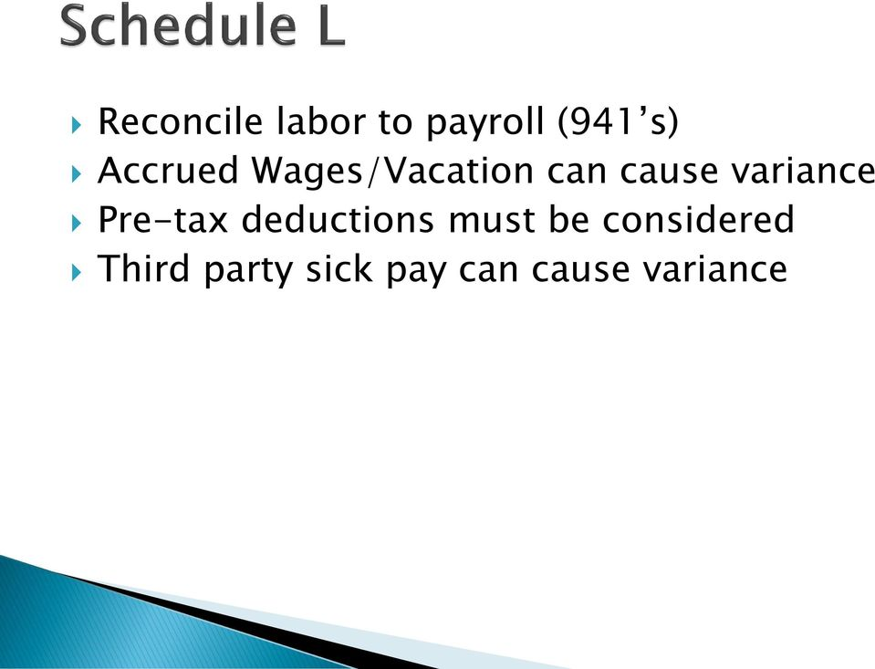 variance Pre-tax deductions must be