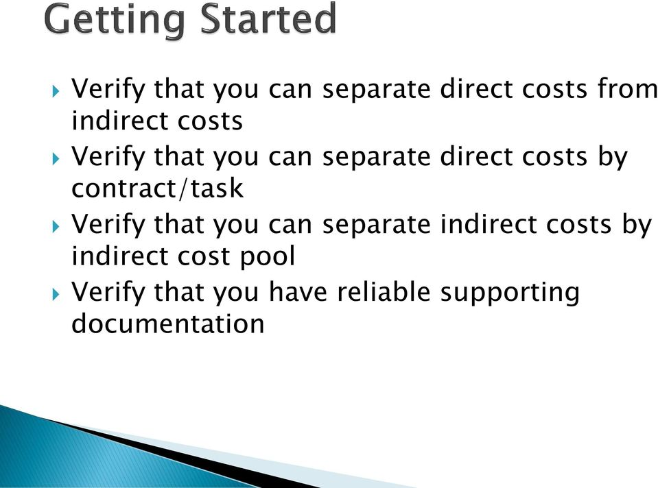 contract/task Verify that you can separate indirect costs by