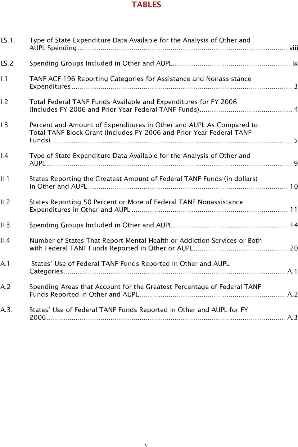 2 Total Federal TANF Funds Available and Expenditures for FY 2006 (Includes FY 2006 and Prior Year Federal TANF Funds)... 4 I.