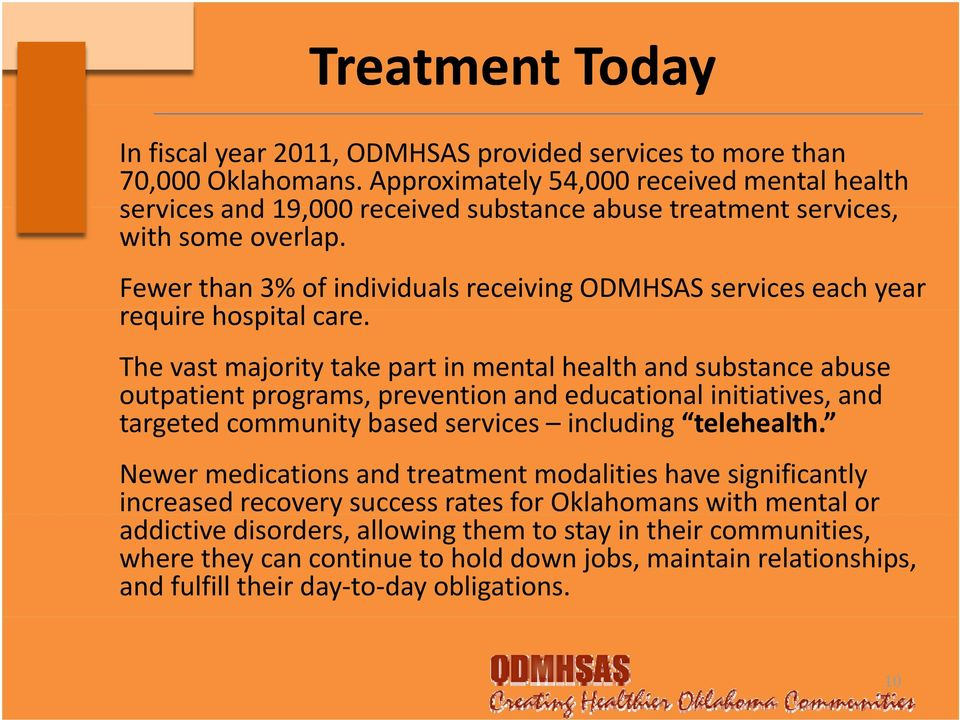 Fewer than 3% of individuals receiving ODMHSAS services each year require hospital care.
