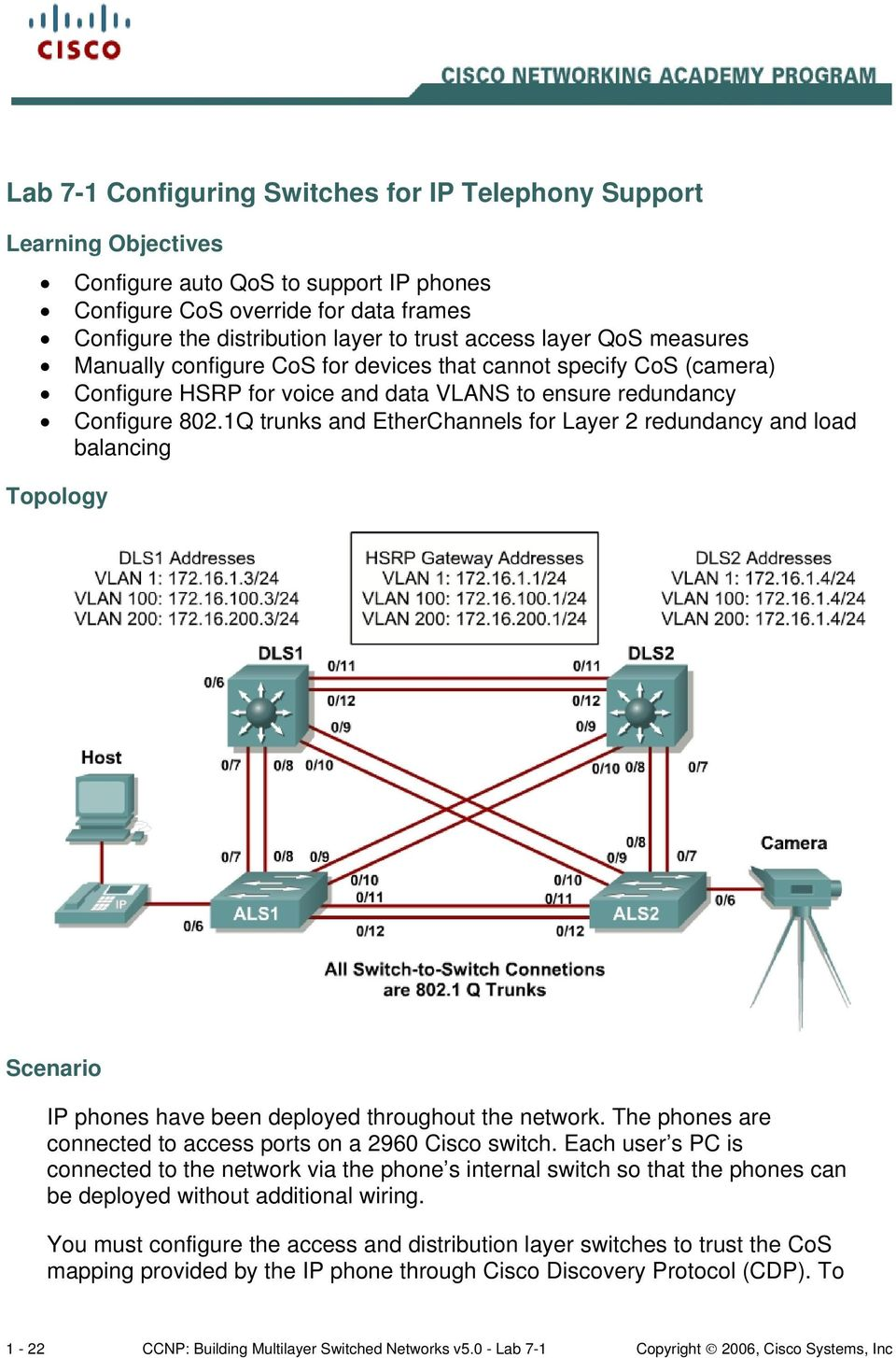 1Q trunks and EtherChannels for Layer 2 redundancy and load balancing Topology Scenario IP phones have been deployed throughout the network.