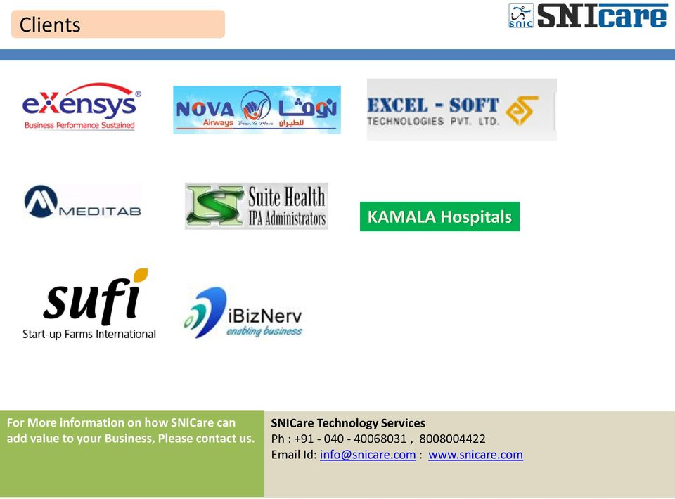 us. SNICare Technology Services Ph : +91-040 -