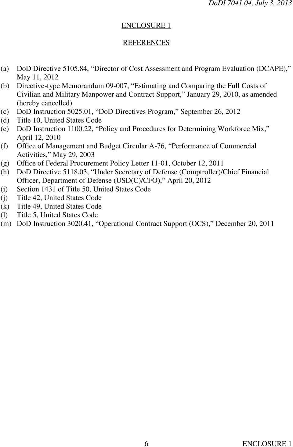 Contract Support, January 29, 2010, as amended (hereby cancelled) (c) DoD Instruction 5025.01, DoD Directives Program, September 26, 2012 (d) Title 10, United States Code (e) DoD Instruction 1100.
