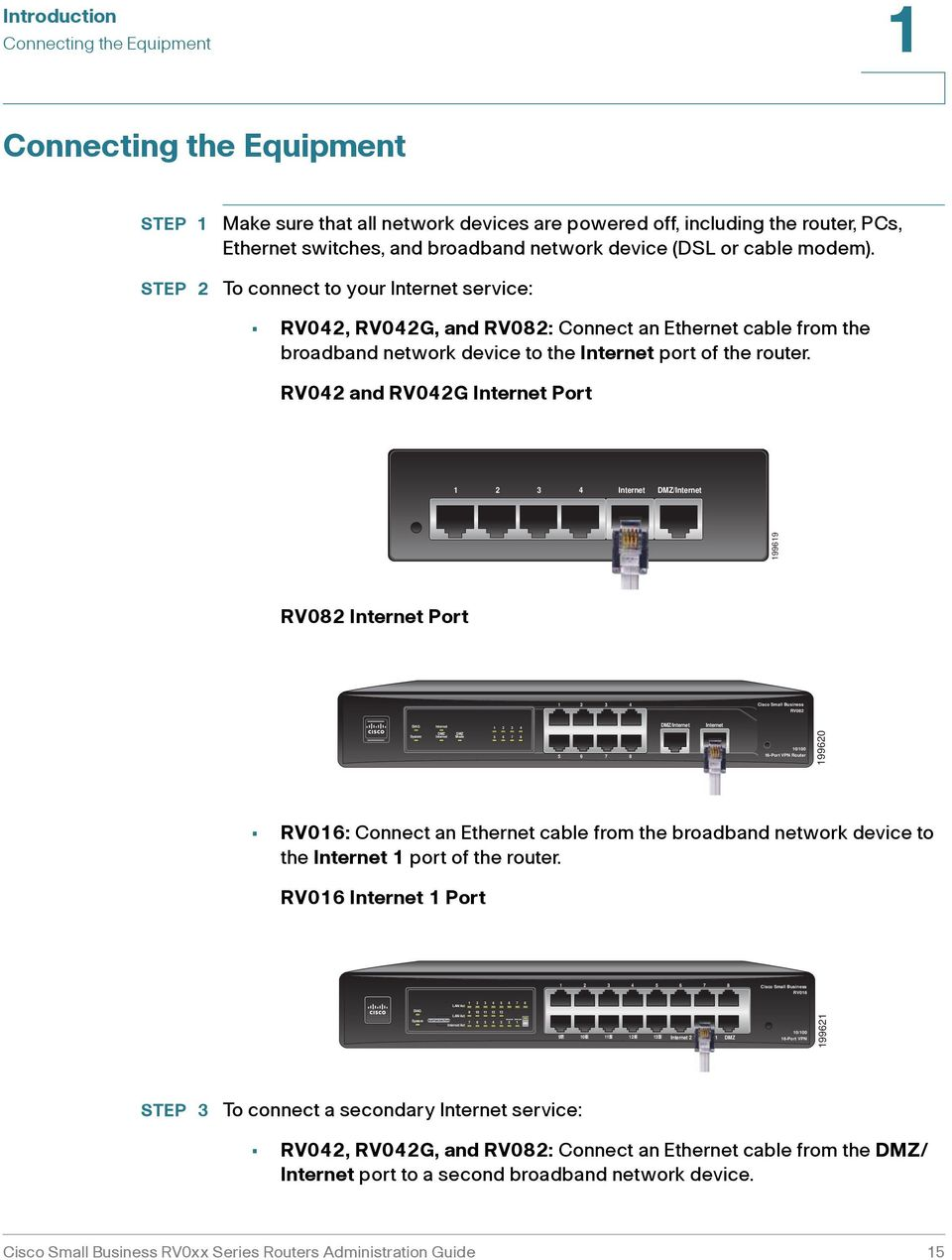 To connect to your Internet service: RV042, RV042G, and RV082: Connect an Ethernet cable from the broadband network device to the Internet port of the router.