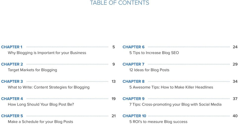 Chapter 8 5 Awesome Tips: How to Make Killer Headlines 34 Chapter 4 How Long Should Your Blog Post Be?