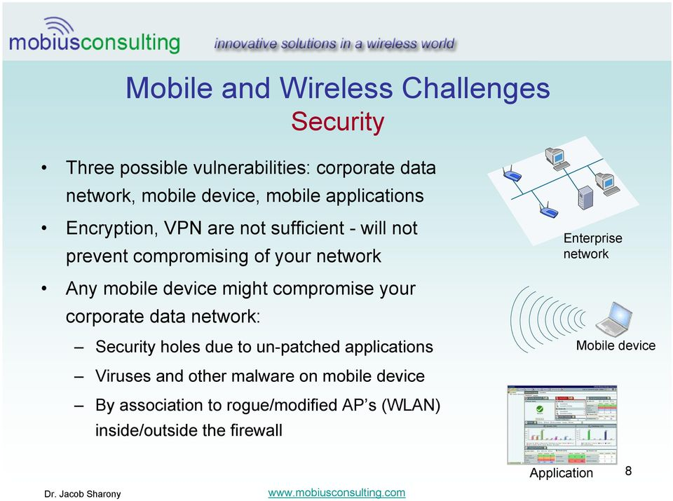 mobile device might compromise your corporate data network: Security holes due to un-patched applications Mobile device