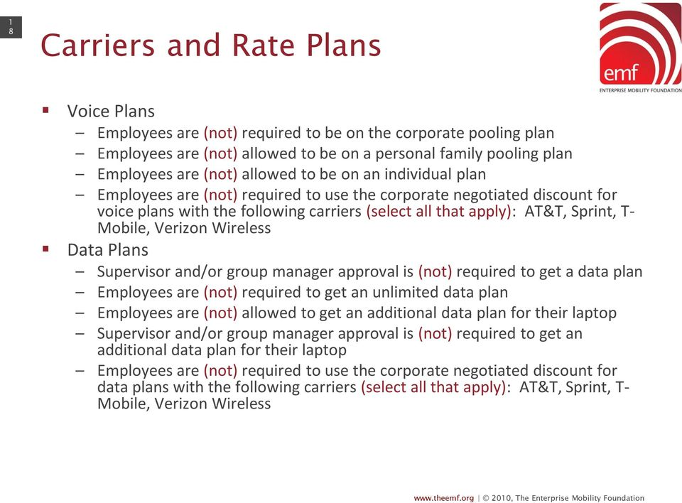 Verizon Wireless Data Plans Supervisor and/or group manager approval is (not) required to get a data plan Employees are (not) required to get an unlimited data plan Employees are (not) allowed to get