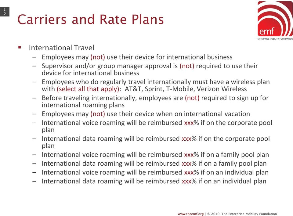 internationally, employees are (not) required to sign up for international roaming plans Employees may (not) use their device when on international vacation International voice roaming will be